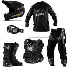 Kit Equipamento Motocross Pro Tork Insane in Black - 6 Itens