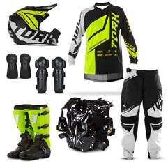 Equipamento Motocross Pro Tork Factory Edition Neon - 7 Itens