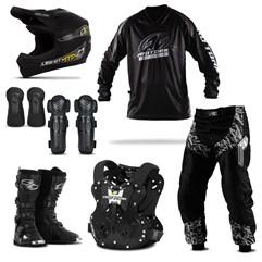Kit Equipamento Motocross Pro Tork Insane in Black - 7 Itens