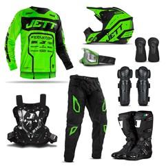 Kit Equipamento de Motocross Jett Evolution 2 - 8 Itens