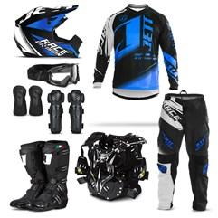 Kit Equipamento Motocross Jett Factory Edition  - 8 Itens