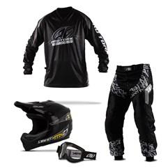 Kit Equipamento Motocross Pro Tork Insane in Black - 4 Itens