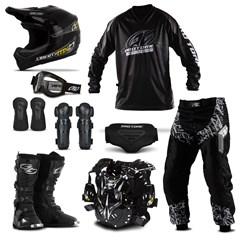 Kit Equipamento Motocross Pro Tork Insane in Black - 9 Itens