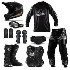 Kit Equipamento Motocross Trilha Pro Tork Insane in Black - 9 Itens