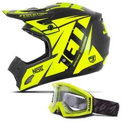 Capacete Motocross Jett Evolution + Óculos Pro Tork Blast