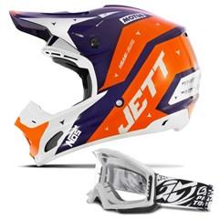 Capacete Motocross Jett Evolution 2 + Óculos Blast