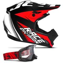 Capacete Motocross Jett Factory Edition + Óculos Pro Tork Blast