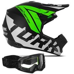 Capacete Motocross Pro Tork Factory Edition Neon + Óculos Blast