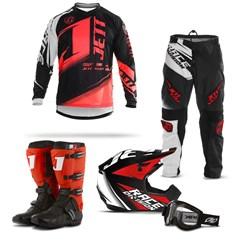 Kit Equipamento Motocross Jett Factory Edition  - 5 Itens