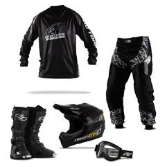 Kit Equipamento Motocross Pro Tork Insane in Black - 5 Itens