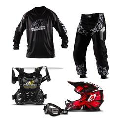 Kit Motocross Infantil Pro Tork Insane in Black - 5 Itens