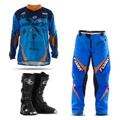 Kit Equipamentos Motocross Insane X com 3 Itens Camisa Calça e Bota Combat