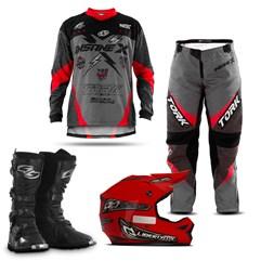 Kit Equipamentos Motocross 4 Itens - Capacete + Bota + Camisa + Calça