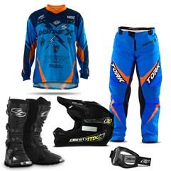 Kit Equipamentos Motocross 5 Itens - Capacete + Óculos + Bota + Camisa + Calça