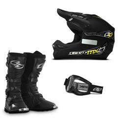 Kit Equipamento Motocross Capacete + Óculos + Bota Pro Tork - 3 Itens