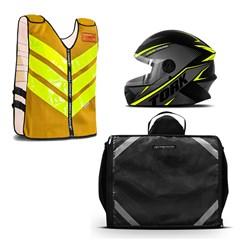 Kit Motoboy Capacete R8 + Colete Refletivo + Mochila Térmica 60 Litros