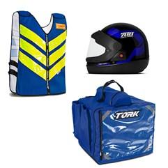 Kit Motoboy Capacete Sport Moto + Colete Refletivo + Mochila Térmica 45 Litros