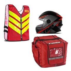 Kit Motoboy Capacete R8 + Colete Refletivo + Mochila Térmica 16 Unidades