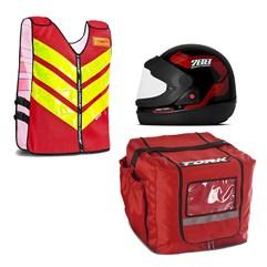 Kit Motoboy Capacete Sport Moto + Colete Refletivo + Mochila Térmica Marmita 16 Unidades
