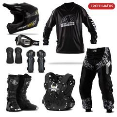 Kit Equipamento Motocross Pro Tork Insane in Black com 8 Itens