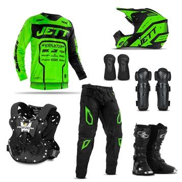 Kit Equipamento Motocross Jett Evolution 2 com 7 Itens