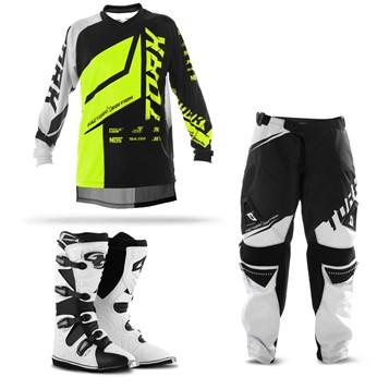 Kit Equipamento Motocross Pro Tork Factory Edition Neon - 3 Itens