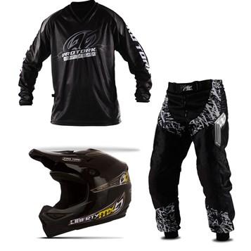 Kit Equipamento Motocross Pro Tork Insane in Black 3 Itens