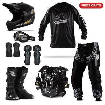 Kit Equipamento Motocross Trilha Pro Tork Insane in Black com 8 Itens
