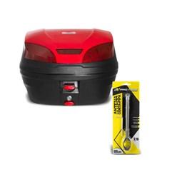 Baú Moto 30 Litros Smart Box 3 + Antena Corta Pipa 7/8 Pro Tork
