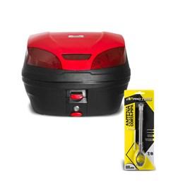 Baú Moto 30 Litros Smart Box 3 Pro Tork + Antena Corta Pipa 7/8