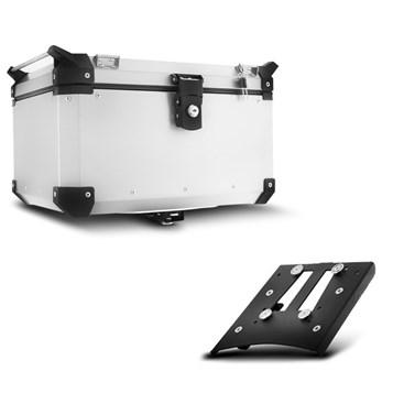 Baú Moto Alumínio Top Case 48 Litros + Base de Fixação Super Adventure Tiger 800 2014 À 2018