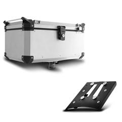 Baú Moto Alumínio Top Case 56 Litros + Base de Fixação Super Adventure Tiger 800 2014 À 2018