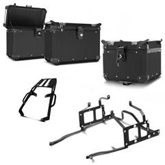 Bau Moto Top Case Roncar Kit Completo Kawasaki Versys 650 2010 à 2013 Preto
