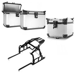 Bau Moto Top Case Roncar Kit Traseiro + Lateral Ténéré 250 2010 à 15 Alumínio Escovado