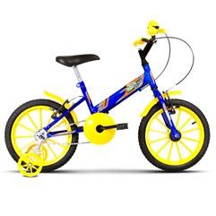 Bicicleta Aro 16 Infantil Com Rodinhas Ultra Kids T Azul/Amarelo