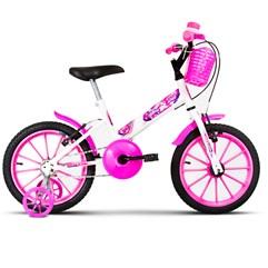 Bicicleta Aro 16 Infantil Com Rodinhas Ultra Kids T Branco/Rosa