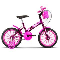Bicicleta Aro 16 Infantil Com Rodinhas Ultra Kids T Lilás/Rosa