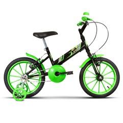 Bicicleta Aro 16 Infantil Com Rodinhas Ultra Kids T Preto/Verde