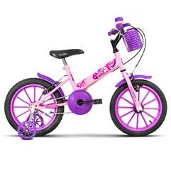 Bicicleta Aro 16 Infantil Com Rodinhas Ultra Kids T Rosa Bebê/Lilás