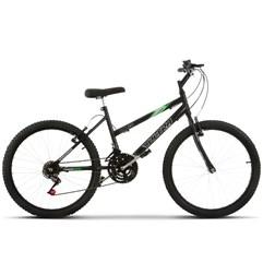 Bicicleta Aro 24 Feminina 18 Marchas Ultra Bikes Preta