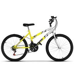 Bicicleta Aro 24 Feminina Bicolor 18 Marchas Ultra Bikes Amarelo e Branco