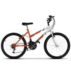 Bicicleta Aro 24 Feminina Bicolor 18 Marchas Ultra Bikes Laranja e Branca