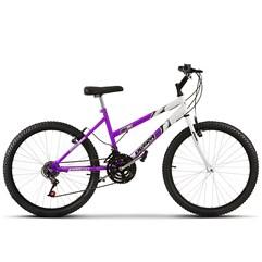 Bicicleta Aro 24 Feminina Bicolor 18 Marchas Ultra Bikes Lilás e Branco