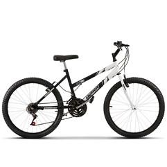 Bicicleta Aro 24 Feminina Bicolor 18 Marchas Ultra Bikes Preto e Branco