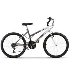 Bicicleta Aro 24 Feminina Bicolor 18 Marchas Ultra Bikes Space Gray/Branco