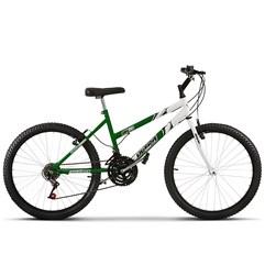 Bicicleta Aro 24 Feminina Bicolor 18 Marchas Ultra Bikes Verde e Branco