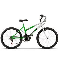 Bicicleta Aro 24 Feminina Bicolor 18 Marchas Ultra Bikes Verde KW/Branco