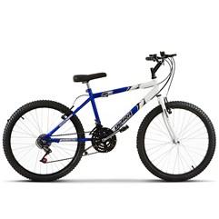 Bicicleta Aro 24 Masculina Bicolor 18 Marchas Ultra Bikes Azul e Branco