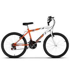 Bicicleta Aro 24 Masculina Bicolor 18 Marchas Ultra Bikes Laranja e Branco