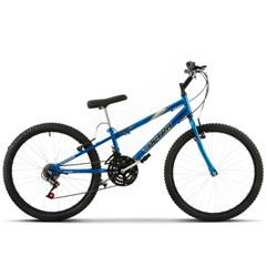 Bicicleta Aro 24 Rebaixada 18 Marchas Ultra Bikes Chrome Line Azul